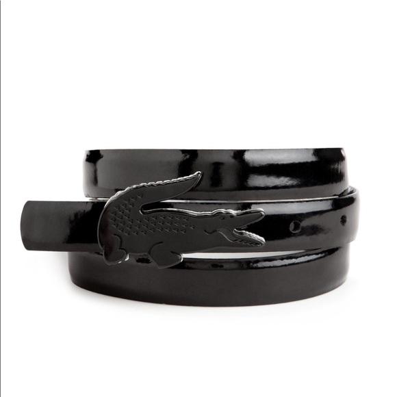 e962fec5c294b0 Lacoste Accessories - Lacoste Resin Crocodile Plaque Black Belt